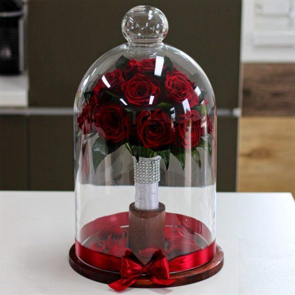 45 cm Búrába zárt 16 szálas Örök Rózsa Csokor / Forever Rose - Burgundy