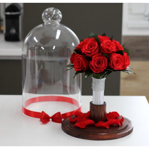 45 cm Búrába zárt 16 szálas Örök Rózsa Csokor / Forever Rose - Piros
