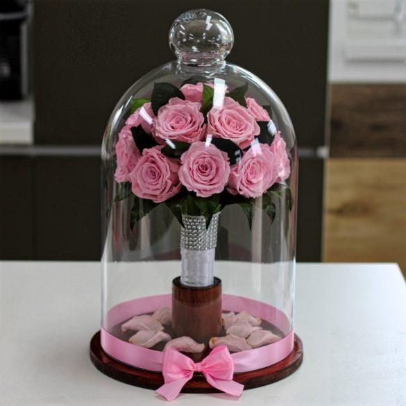 45 cm Búrába zárt 16 szálas Örök Rózsa Csokor / Forever Rose - Rózsaszín