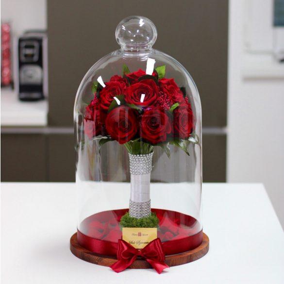 45 cm Búrába zárt 16 szálas Örök Rózsa Csokor / Forever Rose - VÖRÖS