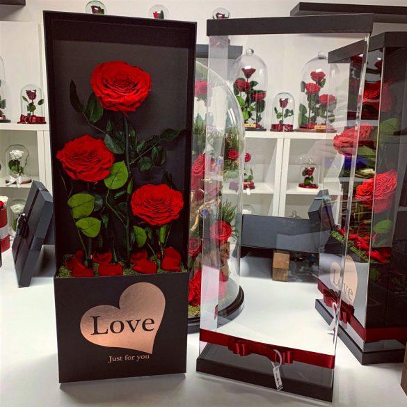 Nagy méretű 65 cm PVC dobozos 3 szálas Örök Rózsa / Forever Rose - Vörös