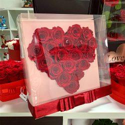 Akril dobozos SZÍV formájú Örök Rózsa box / Forever rose box - VÖRÖS