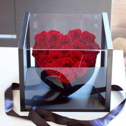 Akryl dobozos 18 szálas Örök Rózsa box / Forever rose box - VÖRÖS