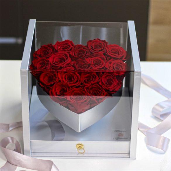 Akryl dobozos 17 szálas Örök Rózsa box / Forever rose box - VÖRÖS