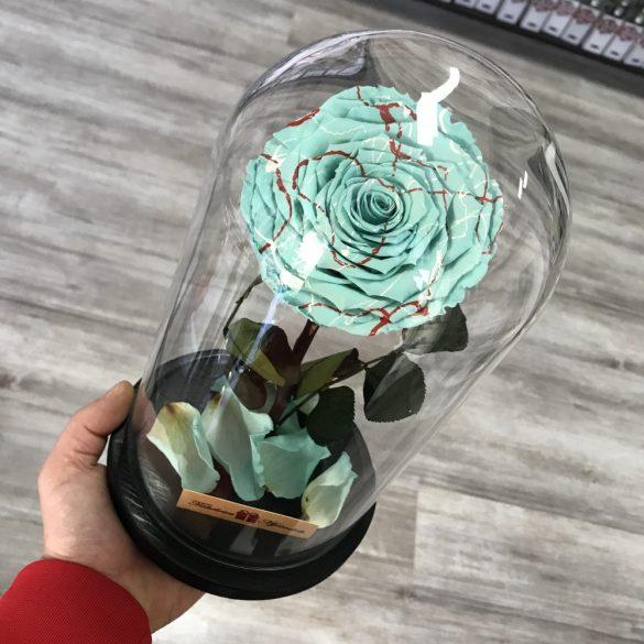 Nagy méretű búrába zárt FESTIVA Örök Rózsa / Forever Rose - Világoskék