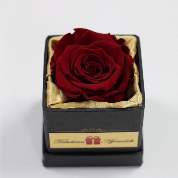 Örök rózsa / Forever rose exkluzív kocka díszdobozban - Burgundy
