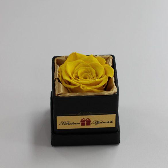 Örök rózsa / Forever rose exkluzív kocka díszdobozban - Citromsárga