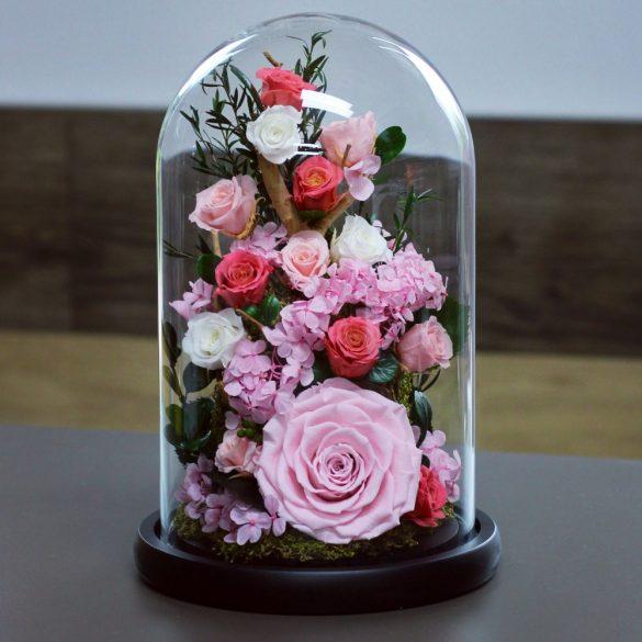 Nagy méretű búrába zárt Örök Rózsa Hortenzia kompozíció / Forever Rose - Rózsaszín