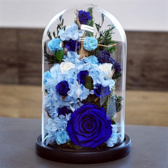 Nagy méretű búrába zárt Örök Rózsa Hortenzia kompozíció / Forever Rose - Sötétkék
