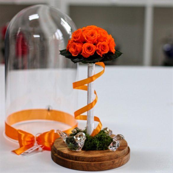 Nagy méretű búrába zárt Örök Rózsa kompozíció / Forever Rose - Narancssárga