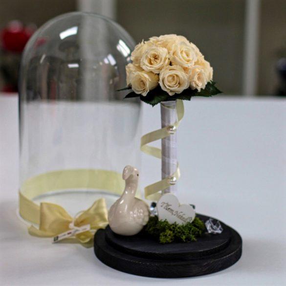 Nagy méretű búrába zárt Örök Rózsa kompozíció / Forever Rose - Pezsgő