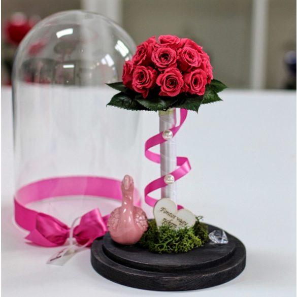 Nagy méretű búrába zárt Örök Rózsa kompozíció / Forever Rose - Pink