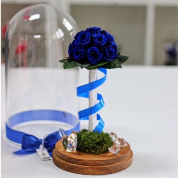 Nagy méretű búrába zárt Örök Rózsa kompozíció / Forever Rose - Sötét Kék