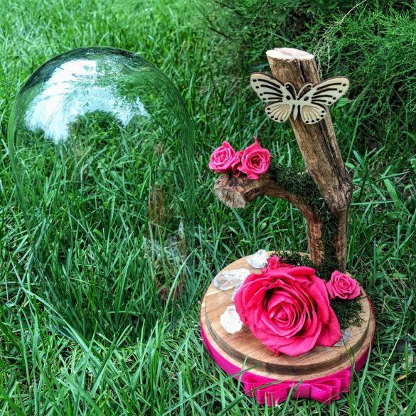 Nagy méretű búrába zárt Örök Rózsa kompozíció / Forever Rose - Dark Pink