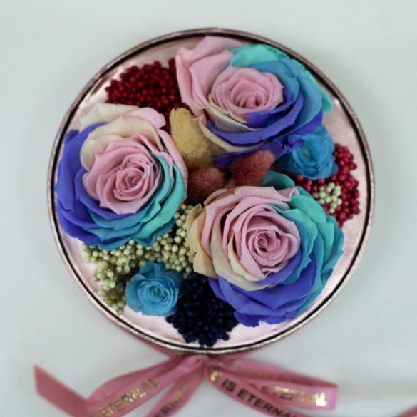 Akryl kupolába zárt Örök Rózsa / Forever Rose kompozíció  - Candy Rainbow