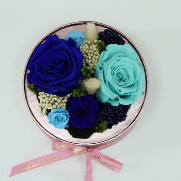 Akryl kupolába zárt Örök Rózsa / Forever Rose kompozíció  - Kék