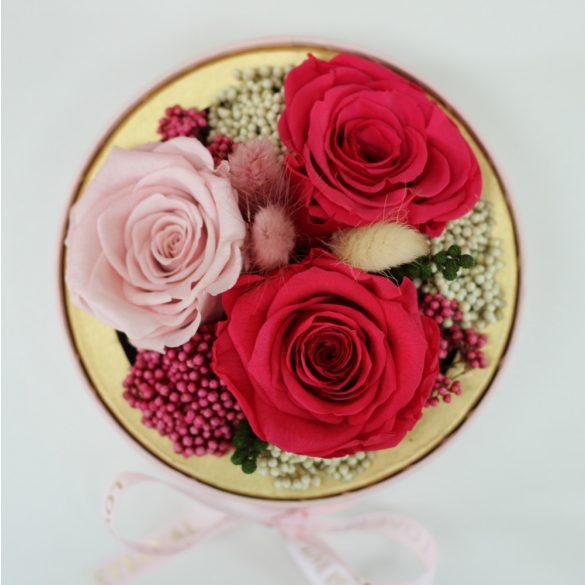 Akryl kupolába zárt Örök Rózsa / Forever Rose kompozíció  - Pink