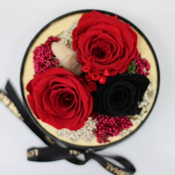 Akryl kupolába zárt Örök Rózsa / Forever Rose kompozíció  - Vörös