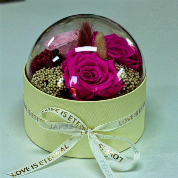 Akryl kupolába zárt Örök Rózsa / Forever Rose kompozíció  - Rózsaszín