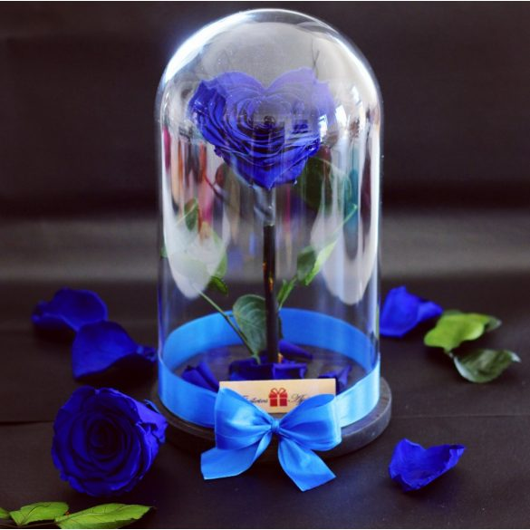 Nagy méretű búrába zárt Szív alakú Örök Rózsa / Forever Rose - Sötétkék