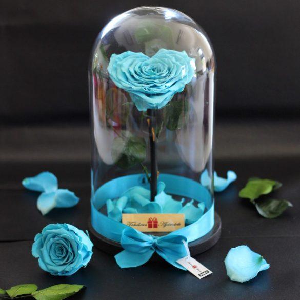 Nagy méretű búrába zárt Szív alakú Örök Rózsa / Forever Rose - Világoskék