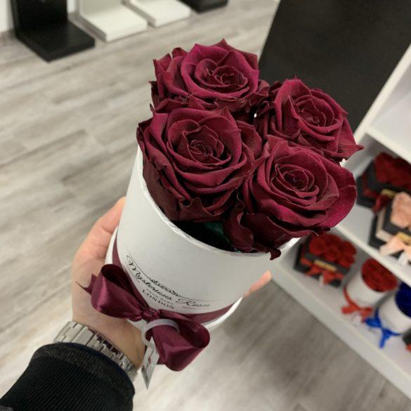 4 szálas Örök rózsa / Forever Rose Box henger díszdobozban - BURGUNDY
