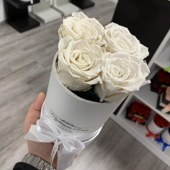 4 szálas Örök rózsa / Forever Rose Box henger díszdobozban - FEHÉR