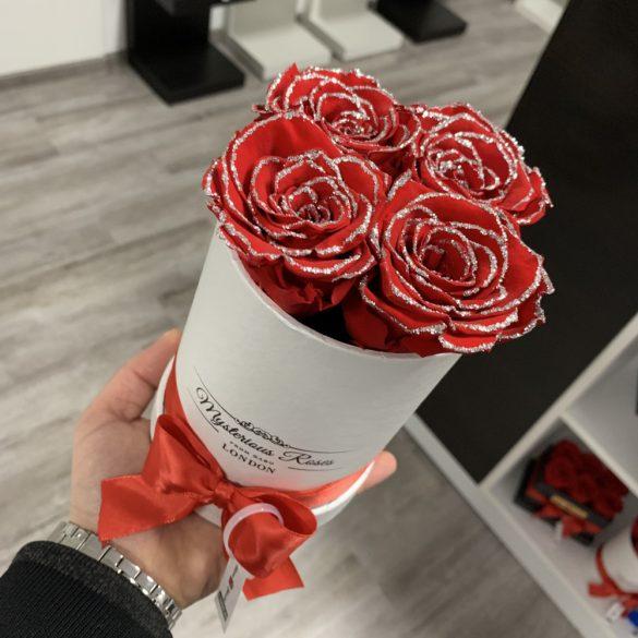 4 szálas Örök rózsa / Forever Rose Box henger díszdobozban - GLITTER PIROS
