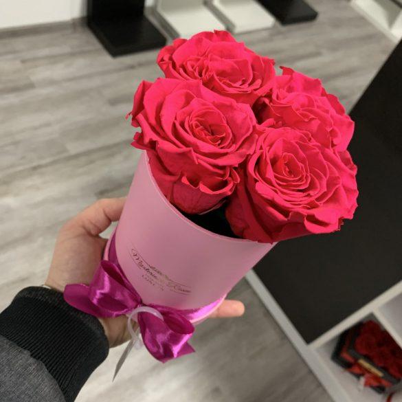 4 szálas Örök rózsa / Forever Rose Box henger díszdobozban - KORALL
