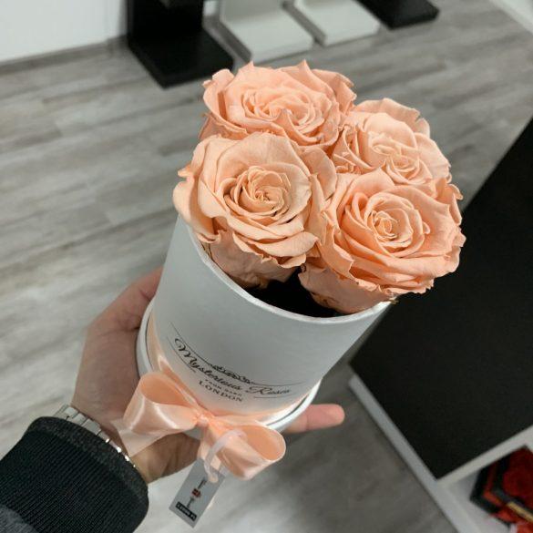 4 szálas Örök rózsa / Forever Rose Box henger díszdobozban - PEZSGŐ