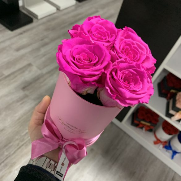4 szálas Örök rózsa / Forever Rose Box henger díszdobozban - PINK