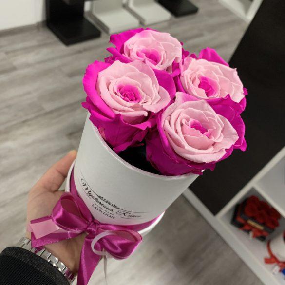 4 szálas Örök rózsa / Forever Rose Box henger díszdobozban - PINK SPECIAL