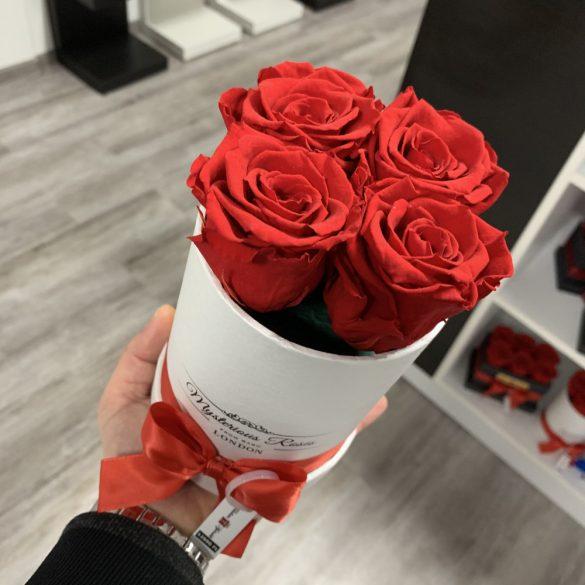 4 szálas Örök rózsa / Forever Rose Box henger díszdobozban - PIROS