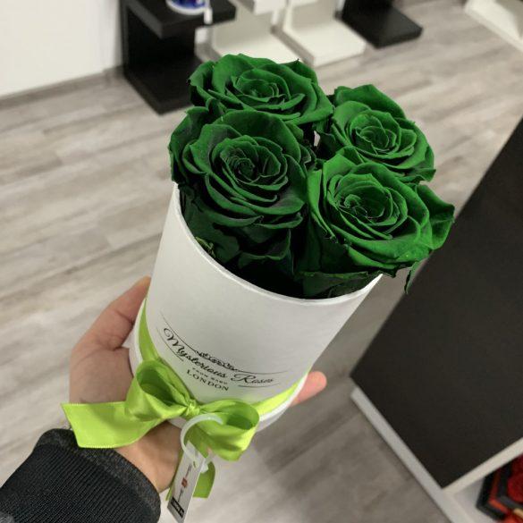 4 szálas Örök rózsa / Forever Rose Box henger díszdobozban - Smaragd