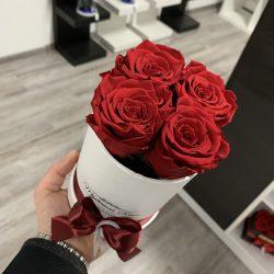 4 szálas Örök rózsa / Forever Rose Box henger díszdobozban - VÖRÖS