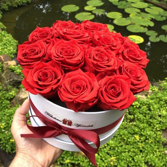 Örök rózsa / Forever Rose Box henger díszdobozban VÖRÖS - AJÁNDÉK KÖNYVVEL