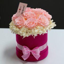 11 szálas Örök rózsa Bársony Box kompozíció / Forever Rose  - Rózsaszín