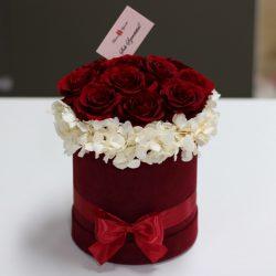 11 szálas Örök rózsa Bársony Box kompozíció / Forever Rose  - Vörös