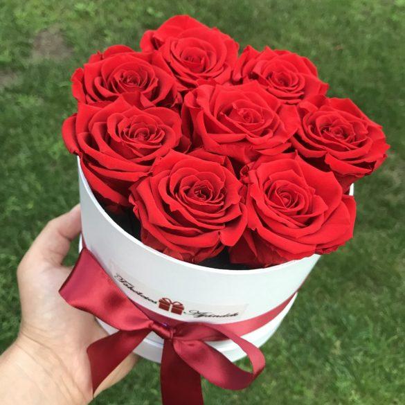 Örök rózsa / Forever Rose Box kis henger díszdobozban VÖRÖS - AJÁNDÉK KÖNYVVEL