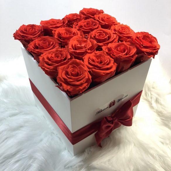 Örök rózsa / Forever Rose Nagy Kocka díszdobozban - VÖRÖS
