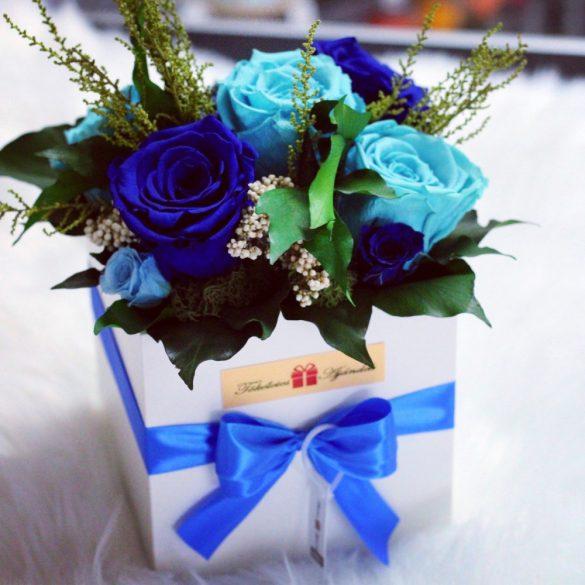 Örök rózsa Box kompozíció / Forever Rose  - Kék