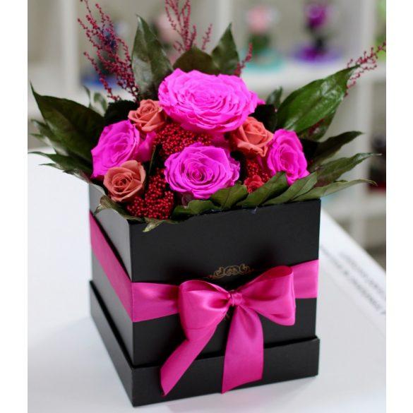 Örök rózsa Box kompozíció / Forever Rose  - Pink