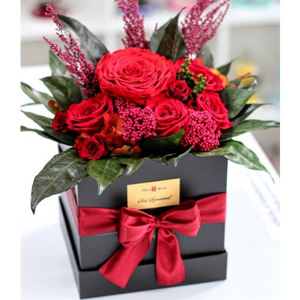 Örök rózsa Box kompozíció / Forever Rose  - Piros