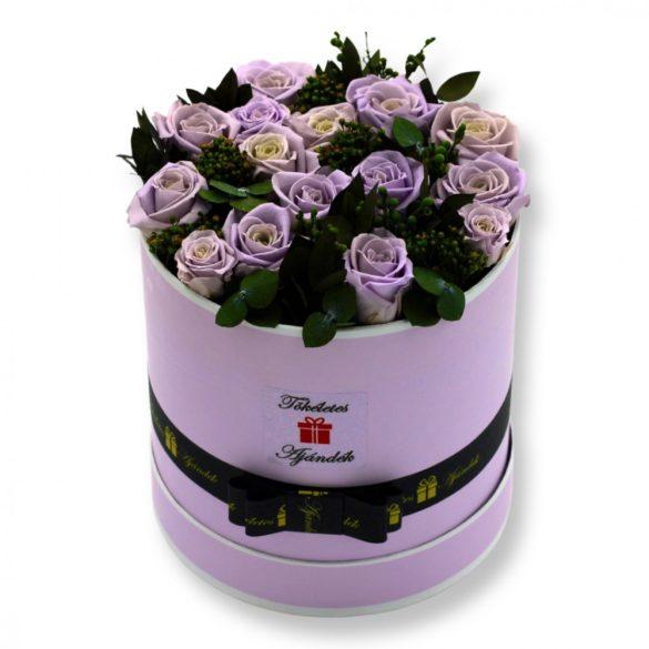 15 szálas Örök rózsa Box kompozíció / Forever Rose  - Púder lila