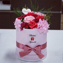 15 szálas Örök rózsa Box kompozíció / Forever Rose  - Rózsaszín