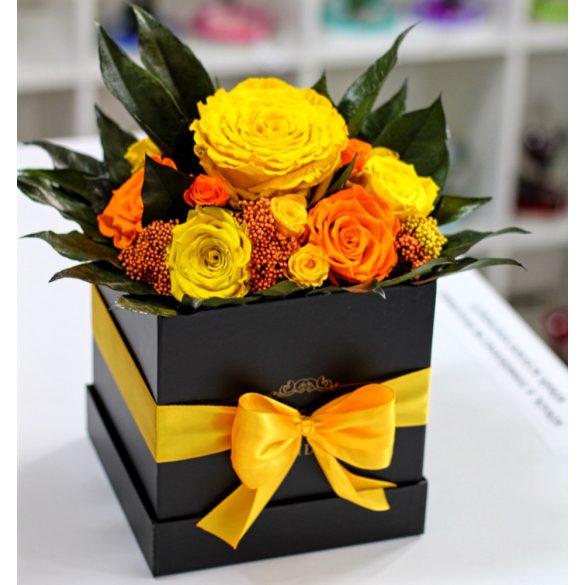 Örök rózsa Box kompozíció / Forever Rose  - Sárga