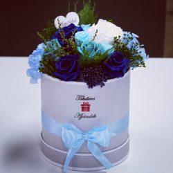 15 szálas Örök rózsa Box kompozíció / Forever Rose  - Kék