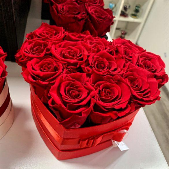 Örök rózsa / Forever Rose Box szív alakú díszdobozban - VÖRÖS
