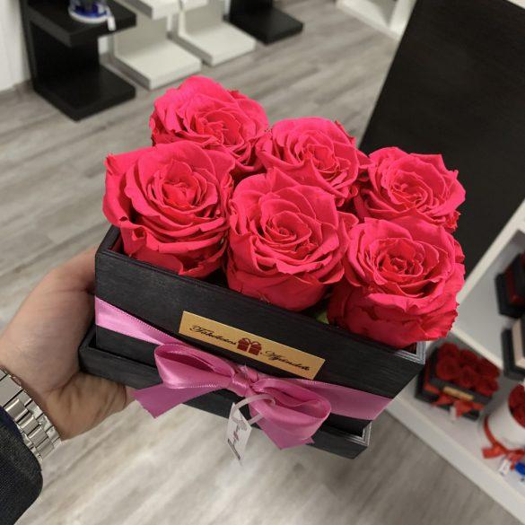 6 szálas Örök rózsa / Forever Rose fa díszdobozban - KORALL