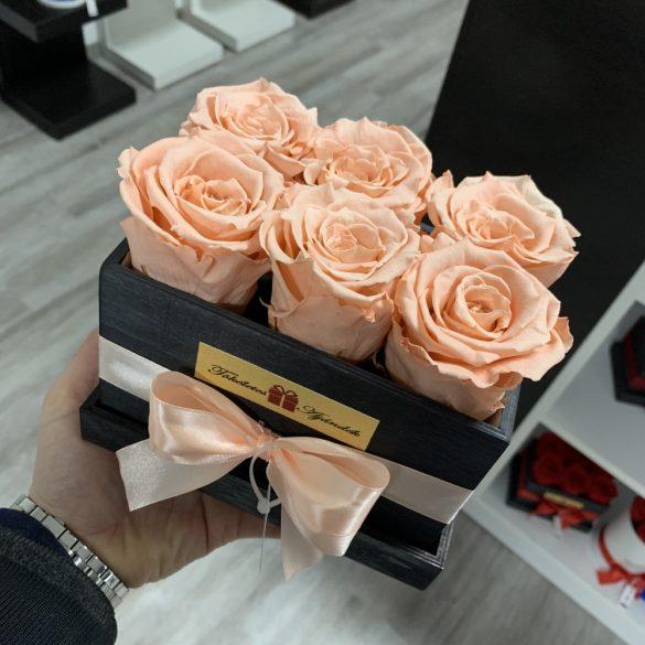6 szálas Örök rózsa / Forever Rose fa díszdobozban - PEZSGŐ
